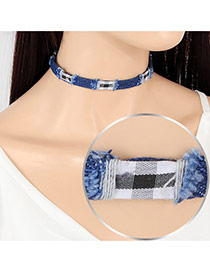 Fashion Multi-color Grid Pattern Decorated Short Chain Design Choker