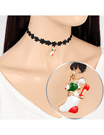 Fashion Multi-color Christmas Stocking Pendant Decorated Hollow Out Folower Simple Choker