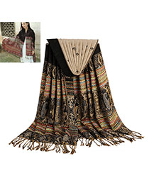 Bohemia Black Printing Flower Pattern Decorated Tassel Scarf