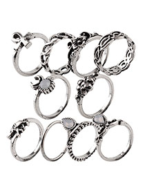Vintage Silver Color Elephant Shape Decoarted Pure Color Simple Rings(10pcs)