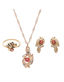 Elegant Gold Color +pink Leaf Shape Pendant Decorated Long Chain Jewelry Sets