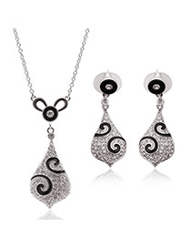 Fashion Silver Color Waterdrop Shape Pendant Decorated Long Chain Jewelry Sets