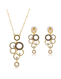 Vintage Gold Color Round Shape Pendants Decorated Simple Long Chain Jewelry Sets