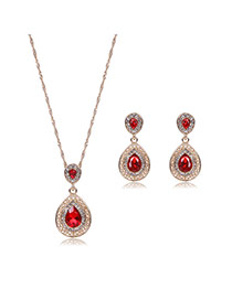 Elegant Red Waterdrop Shape Pendant Decorated Long Chain Jewelry Sets