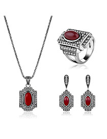 Retro Silver Color Oval Shape Gemstone Decorated Square Design Pendant Jewelry Sets
