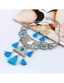 Bohemia Blue Tassel Decorated Geometric Shape Design Jewelry Sets