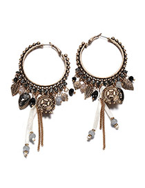 Bohemia Coffee Tassel Decorated Round Shape Design Simple Earrings