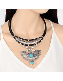 Exaggerate Silver Color Gemstone Decorated Fan Design Mutilayer Necklace