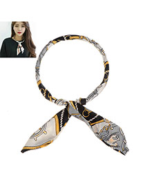 Elegant Gray Geometric Shape Pattern Decorated Bowknot Shape Multi-function Scarf