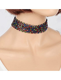 Elegant Multi-color Diamond Decorated Hollow Out Multilayer Choker