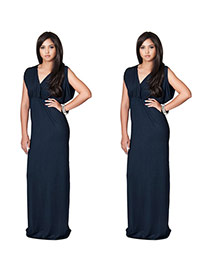Elegant Dark Blue Pure Color Decorated V-neckline Simple Long Dress