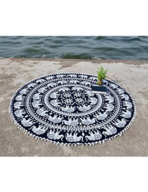 Fashion Black+white Elephant Pattern Decorated Tassel Yoga Mat&shawl