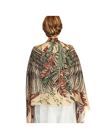 Fashion Coffee Feather&wing Shape Pattern Decorated Simple Shawl
