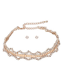 Delicate Gold Color Round Shape Diamond Decorated Hollow Out Jewelry Sets