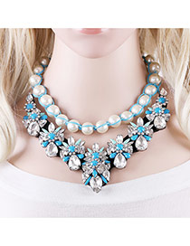 Elegant White+blue Geometric Diamond Decorated Pearl Weaving Chain Necklace