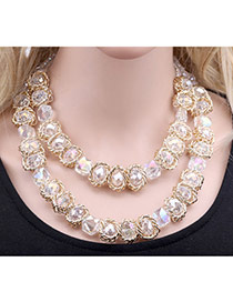 Elegant White Flower Shape Decorated Pearl Weaving Short Chain Necklace