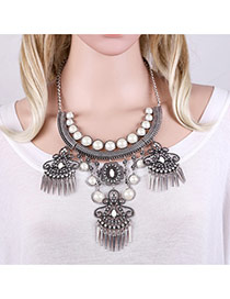 Bohemia Anti-silver+white Rivet Tassel Pendant Decorated Short Chain Necklace