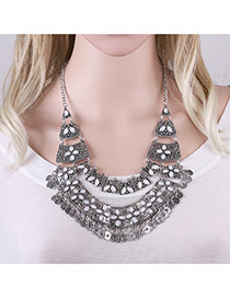 Exaggerated Anti-silver Coin Shape Tassel Pendant Decorated Hollow Out Necklace