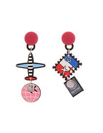 Cute Multi-color Aircraft&postage Stample Shape Decorated Cartoon Earring