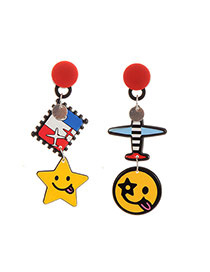 Cute Multi-color Aircraft&smiling Face Shape Decorated Cartoon Earring