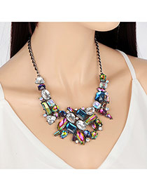 Elegant Multi-color Geometric Shape Gemstone Decorated Short Chain Necklace