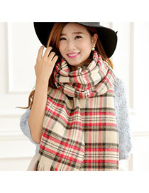 Fashion Beige Plover Grids Pattern Decorated Two-sided Design Scarf