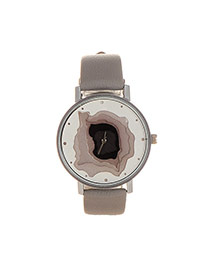 Elegant Gray Hollow Out Pattern Decorated Pure Color Strap Watch