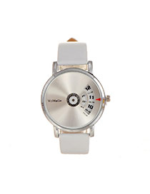 Elegant White Letter Pattern Decorated Round Shape Dial Plate Watch