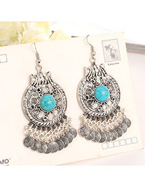 Vintage Silver Color Cions Tassel Pendant Decorated Round Design Earring