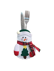 Lovely White Heart Shape&scraf Decorated Christmas Snowman Design Tableware Bag
