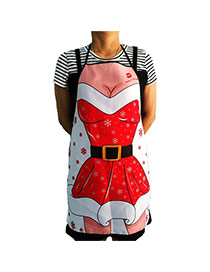 Lovely Red+white Snowflake Pattern Decorated Color Matching Simple Apron