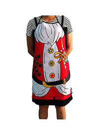 Lovely Red Cartoon Pattern Decorated Color Matching Simple Apron