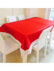 Lovely Red Color Matching Design Square Shape Simple Tablecloth
