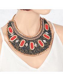 Fashion Gun Black Rhombus Shape Beads Decorated Simple Collar Necklace