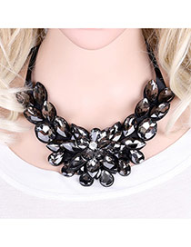 Fashion Black Water Drop Shape Diamond Decorated Flower Shape Short Chian Necklace