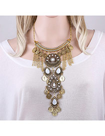 Exaggerated Antique Gold Water Drop Shape Diamond&coins Decorated Hollow Out Necklace