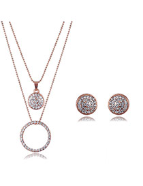 Elegant Rose Gold Round Shape Pendant Decorated Full Diamond Design Jewelry Sets