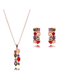 Elegant Multi-color Water Drop Shape Diamond Decorated Irregular Shape Jewelry Sets
