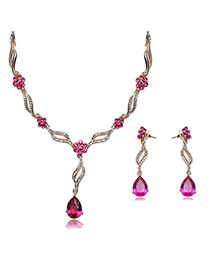 Elegant Gold Color+plum Red Water Drop Shape Diamond Decorated Hollow Out Design Jewelry Sets