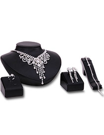 Fashion Silver Color Tassel Pendant Decorated Hollow Out Design Jewelry Sets