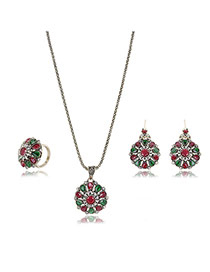 Fashion Bronze Hollow Out Flower Shape Pendant Decorated Simple Jewelry Sets