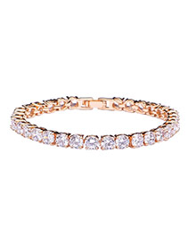 Fashion Gold Color Round Shape Diamond Decorated Simple Bracelet