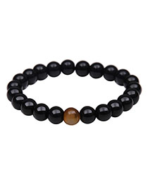 Fashion Black Color Matching Design Simple Buddha Beads Bracelet
