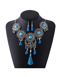 Vintage Blue Tassel Pendant Decorated Hollow Out Design Jewelry Sets