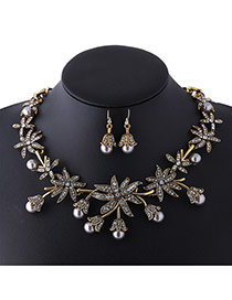 Fashion Gold Color Pearls Decorated Flower Shape Simple Jewelry Sets
