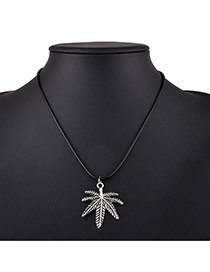 Fashion Silver Color+black Leaf Pendant Decorated Simple Necklace
