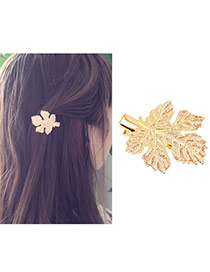 Fashion Gold Color Leaf Shape Design Pure Color Simple Hair Clip