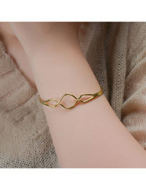 Elegant Gold Color Pure Color Design Hollow Out Opening Bracelet
