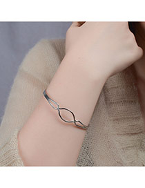 Elegant Silver Color Pure Color Design Hollow Out Opening Bracelet