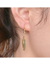 Fashion Gold Color Leaf Shape Pendant Decorated Simple Earrings